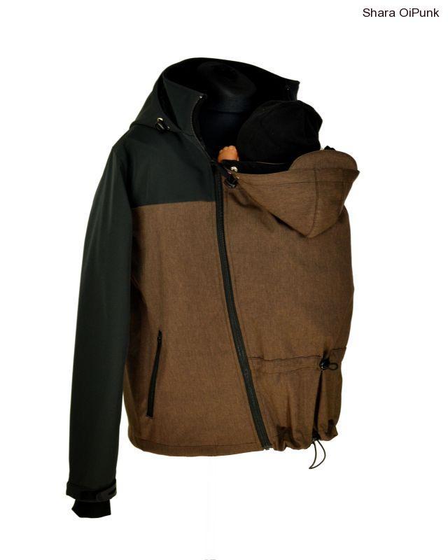 c7da0869b Pánská softshellová nosící bunda, jarní/podzimní - hnědá žíhaná/černá