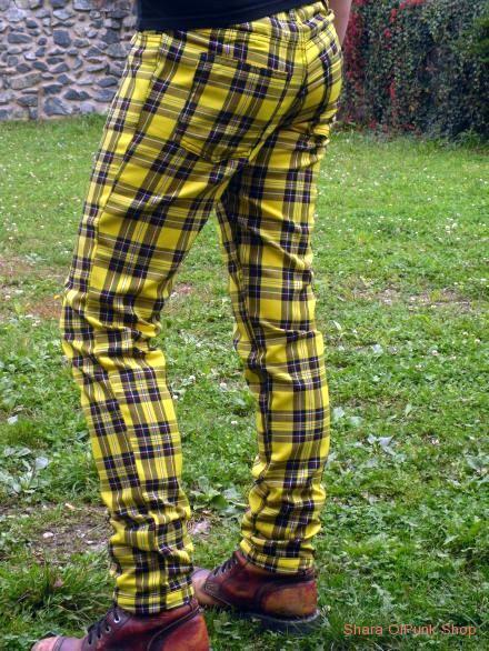 Punk kalhoty žlutá kostka  96d8b64d06